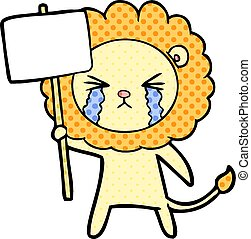 cartoon crying lion with placard