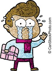cartoon crying man with present