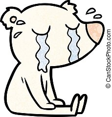 cartoon crying sitting polar bear