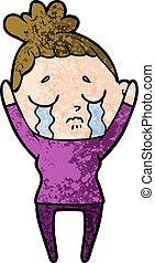 cartoon crying woman