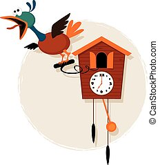 Cartoon cuckoo clock - Funny mechanical bird emerging from a...