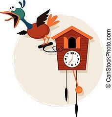 Cartoon cuckoo clock - Funny mechanical bird emerging from a...