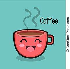 cartoon cup coffee hot design