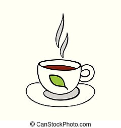 Cartoon cup of tea isolated on white background.