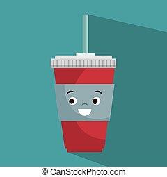 cartoon cup plastic soda with straw