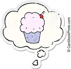 cartoon cupcake and thought bubble as a distressed worn sticker
