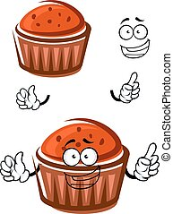Cartoon cupcake character with happy face