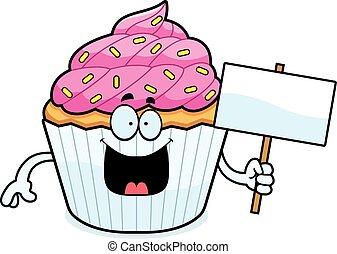 Cartoon Cupcake Sign