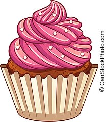 Cartoon cupcake. Vector clip art illustration with simple ...