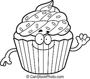 Cartoon Cupcake Waving
