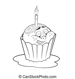Cupcake cartoon coloring page. Black and white cartoon... clipart ...