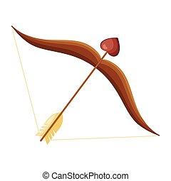 Cartoon cupid bow with arrow heart
