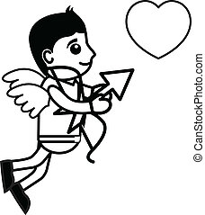 Cartoon Cupid Catching Heart