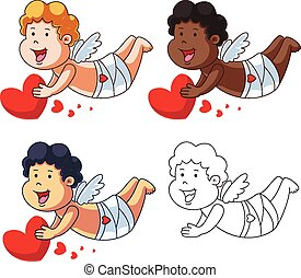 Cartoon Cupids with a Red Heart