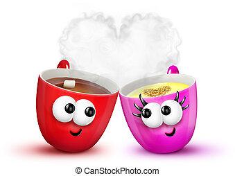 Cartoon Cups of Hot Chocolate