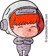 cartoon curious astronaut