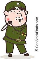 Cartoon Curious Sergeant Face Vector Illustration