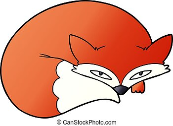 cartoon curled up fox