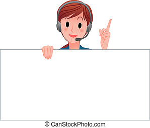 Cartoon Customer Service operator holding a blank board, pointing up with index finger. Isolated against white background.