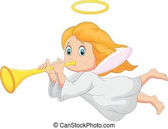 Cartoon cute angel - Vector illustration of Cartoon cute...