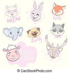 Cartoon cute animals for baby card and invitation. Vector illustration. Lion, dog, bunny, bear, panda, tiger, cat, fox.