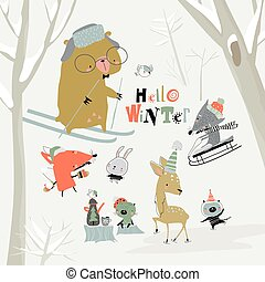 Cartoon cute animals meeting winter in the forest
