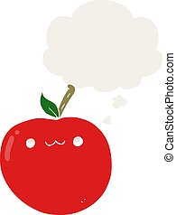 cartoon cute apple and thought bubble in retro style