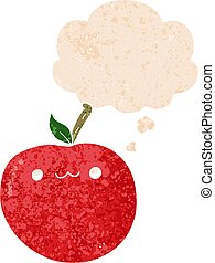 cartoon cute apple and thought bubble in retro textured style