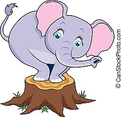 Cartoon cute baby elephant terrified on tree stump. Vector...