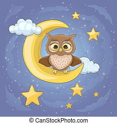 cartoon cute baby owl sitting on a moon and stars with clouds. vector illustration