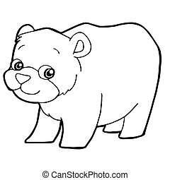 cartoon cute bear coloring page vector illustration