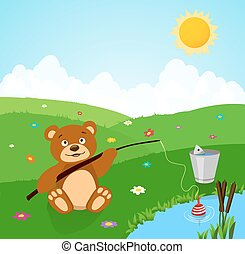 cartoon cute bear fishing. vector illustration