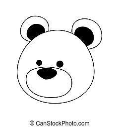 cartoon cute bear icon, flat design
