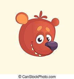 Cartoon cute bear icon. Vector illustration of a cool bear