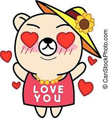 Cartoon Cute Bear  in love illustration
