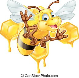 Cartoon cute bee and honey