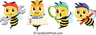 Cartoon cute bee mascot set. Cartoon cute bee holding a spanner, holding a signage, holding a magnifying glass, holding a hoe. Hardworking bee wearing safety cap. Flat Vector illustration isolated