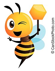 Cartoon cute bee showing victory hand and holding a honey shape signboard. vector illustration isolated