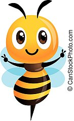 Cartoon cute bee showing Victory hand sign. Vector illustration isolated