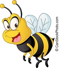Cartoon cute bee. Vector illustration of funny happy animal.