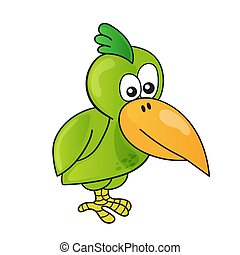 Cartoon cute bird on white background