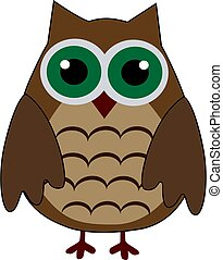 Cartoon cute brown owl on a white background.