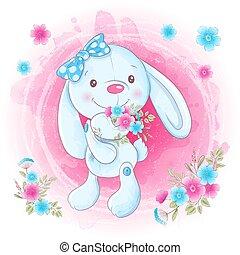 Cartoon Cute Bunny girl with flowers. Vector illustration