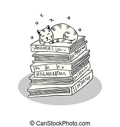 Cartoon cute cat animal sleeping on a stack of books