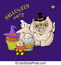 Cartoon cute cat character in a witch s hat with a skull capkake and a Halloween.