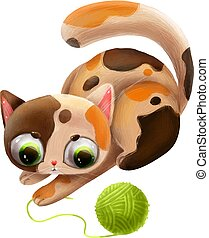 cartoon cute cat playing with a clew with alphabet letter