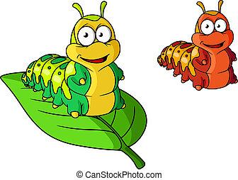 Cartoon cute caterpillar character