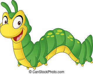 Cartoon cute Caterpillar. Vector illustration of funny happy animal.