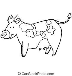 cartoon cow coloring page coloring page illustration of funny farm cow