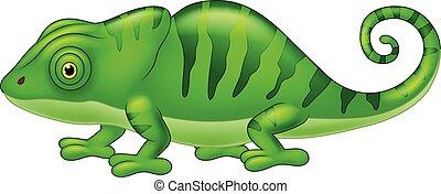 Cartoon cute Chameleon on white
